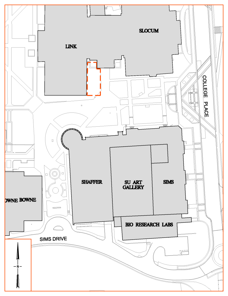 Map of Link Hall Entrance Construction Staging Area