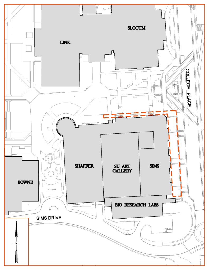 Map of Sims Hall Sidewalk Repair Area