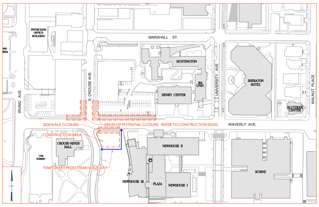 Waverly Ave. Sidewalk Closure Staging Map