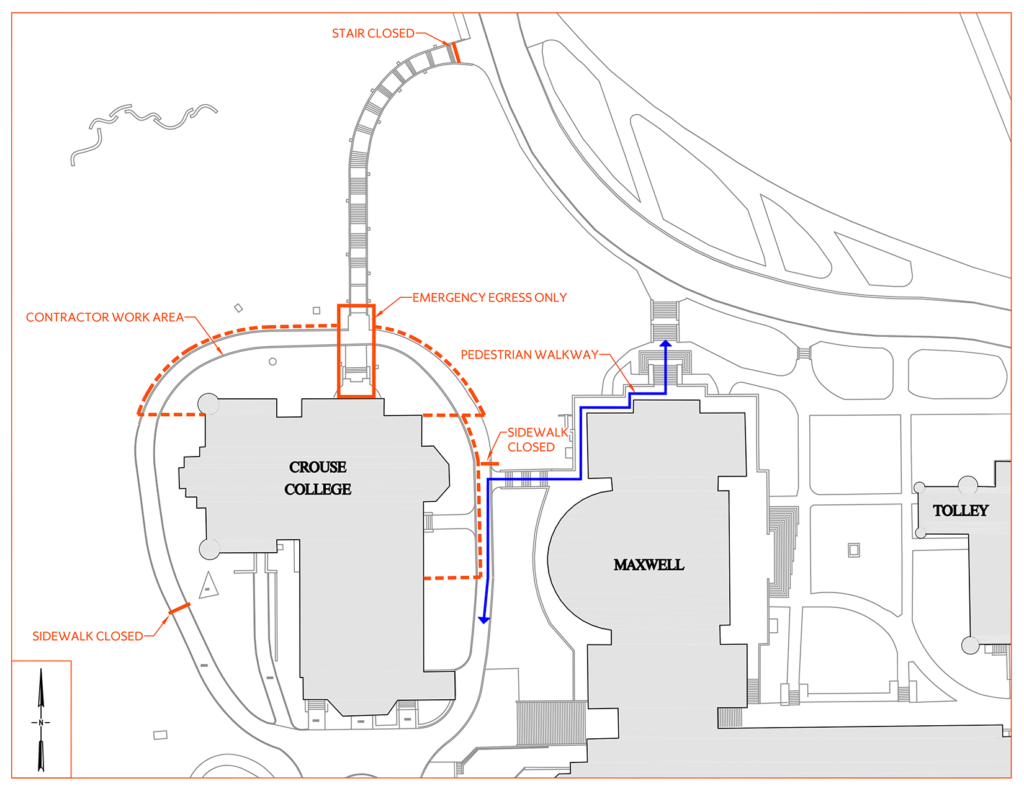 Crouse College Stair Staging Map