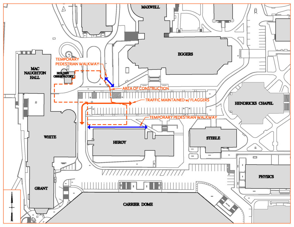 Construction Area Map of Temporary Pedestrian Walkways