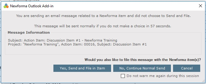 Newforma Email Filing Dialog Box for Outlook