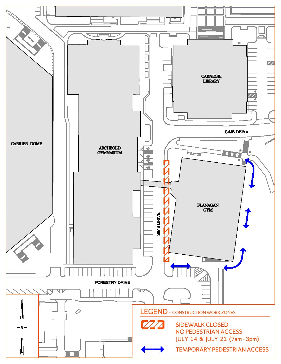 Sidewalk Closure - Flanagan Gym - Sims Drive to Forestry Drive