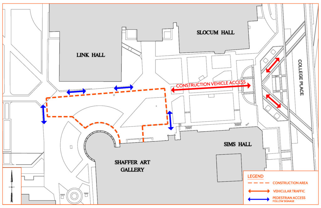 Map of Pedestrian Walk Closures at Link, Slocum, Shaffer and Sims Halls